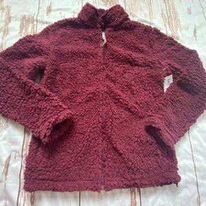 Boxercraft teddybear zip up sweatshirt-maroon-SM